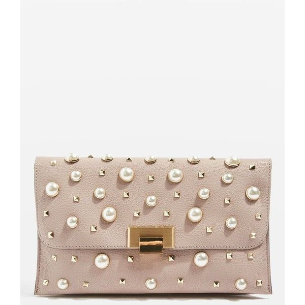 TopShop Cindy Pearl and Stud Clutch Bag (£42) ❤ liked on Polyvore featuring bags, handbags, clutches, nude, studded clutches, nude clutches, white shoulder handbags, white shoulder bag and studded purse