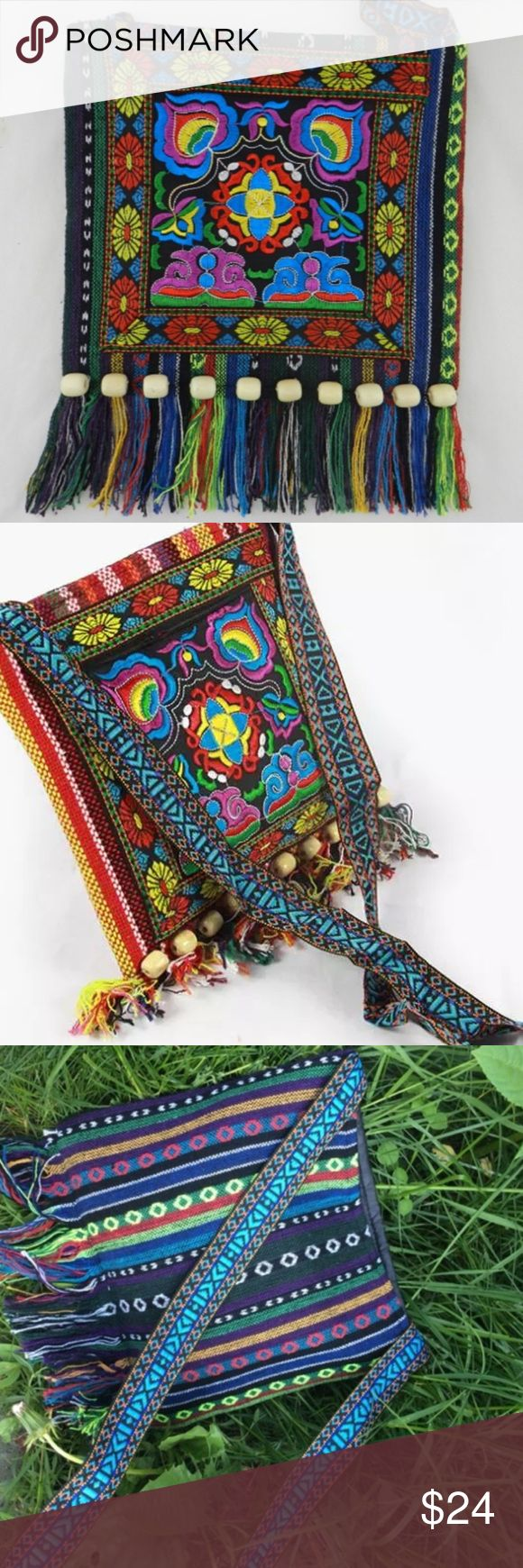 """Vintage Boho Embroidery Hobo Crossbody Handbag Gorgeous vibrant hobo bag with embroidered floral pattern front, a line of 10 wooden beads over a multicolored 2"""" fringe bottom.  11"""" wide. 13"""" high.  Black chiffon fabric lining.  Zipper closure.  Strap is 1.5"""" wide and 46"""" long.  Perfect for use as either a crossbody or messenger bag.  Super cute!   We ship fast... Typically every day!  Brand new with tag.  (E9) Bags Hobos"""