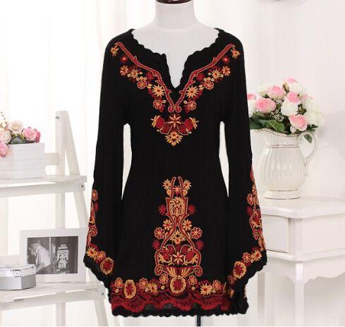 Ropa Vintage mujer negro bordado mujeres de la manga del Batwing del estilo étnico vestido de lino del algodón flor ropa(China (Mainland))