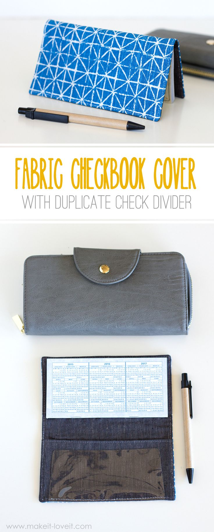 Fabric Check Book Cover (with duplicate check divider)   via Make It and Love It