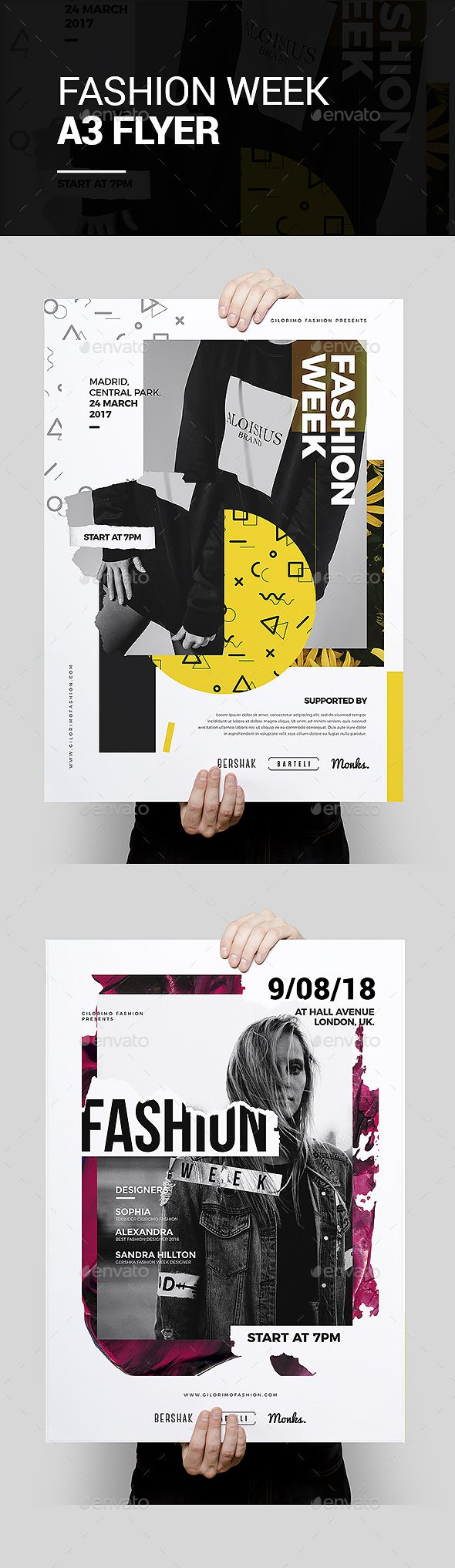 Fashion Week Flyer Poster Template #promotion #corporate  • Download here → https://graphicriver.net/item/fashion-week-flyer-poster-template/21218506?ref=pxcr