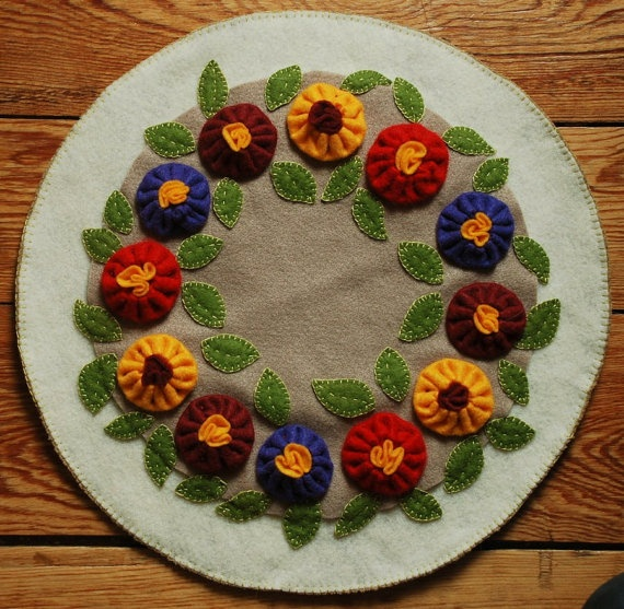 Primitive Wool Applique Candle Mat Penny Rug by HighlandSong, $39.00