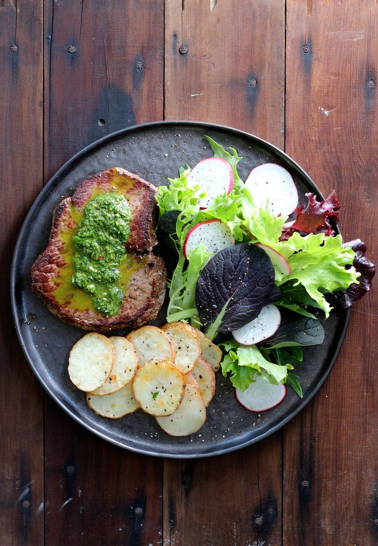 CHIMICHURRI STEAK WITH POTATO CHIPS & GREEN SALAD. Originally from Argentina, chimichurri is a green sauce perfect for grilled meat. If you like great steak, this is a must try. Made with lean JR Signature melt in your mouth rump steak.  35 Minutes.