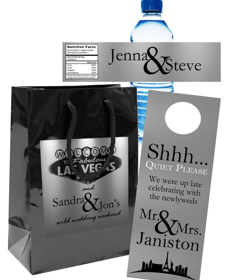 20 Custom Sillver Las Vegas Wedding Welcome Bag Sets with Bags, Water Bottle Labels, Door Hangers, for out of towner hospitality goody bags by 4WeddingWelcomeBags on Etsy https://www.etsy.com/listing/228979052/20-custom-sillver-las-vegas-wedding