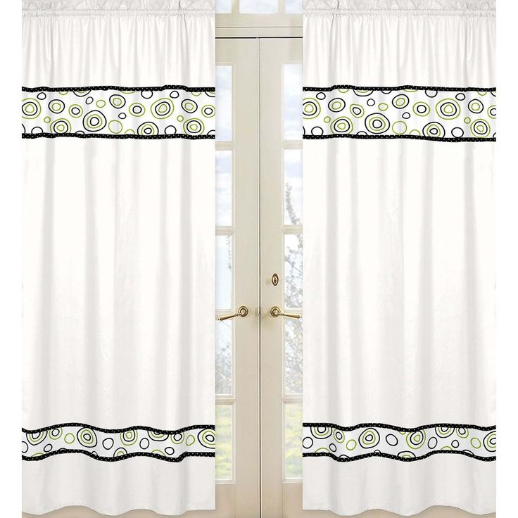 Sweet Jojo Designs Black, and Lime Green 84-inch Window Treatment Curtain Panel Pair for Spirodot Collection