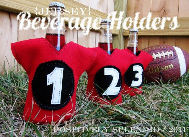 Sports Jersey Koozies - Positively Splendid {Crafts, Sewing, Recipes and Home Decor}