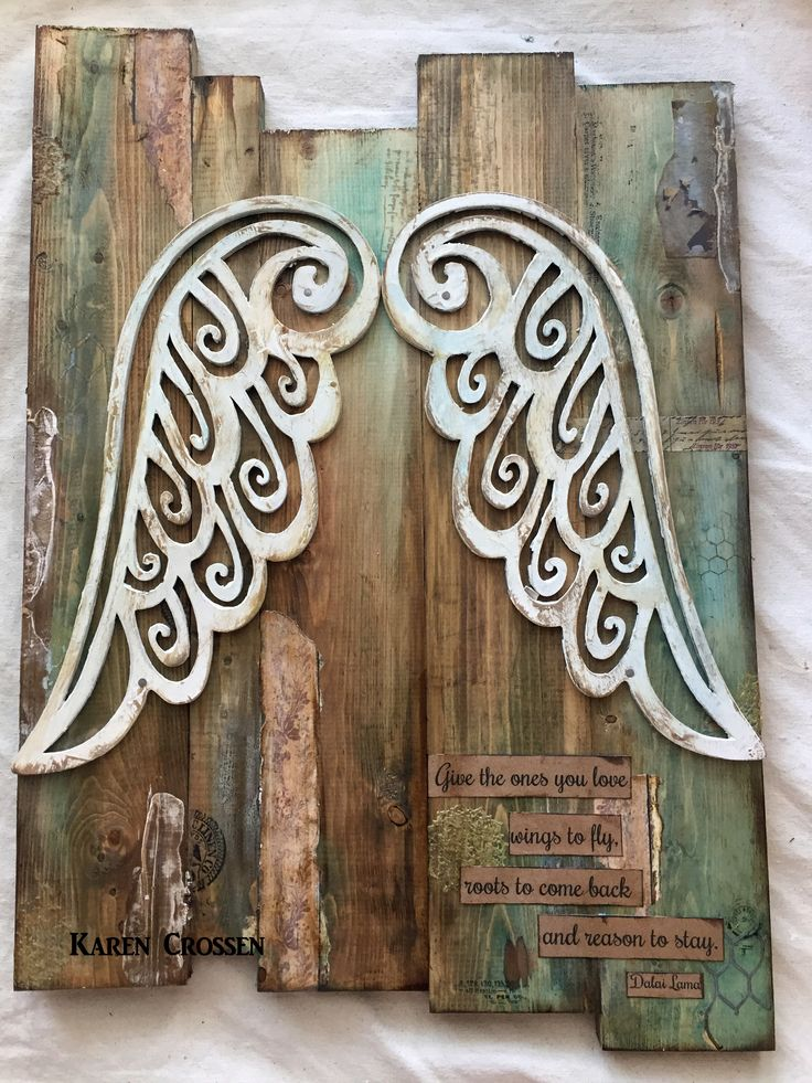 Wings on Wednesday today are represented by Karen Crossen and her beautiful set of wooden wings on a distressed wooden piece. See how she used Tattered Angels paints and Architextures elements to achieve this amazing piece of home decor. 'I love using Tattered Angels products to stain wood. I had a ton of scrap pieces of wood left over from a home DIY project and I also found these amazing wood...