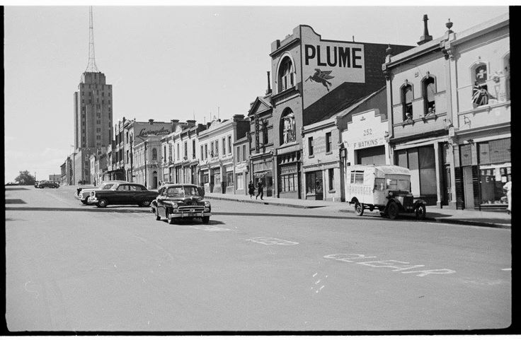 Russell St, Melbourne, 1954, looking north towards Latrobe St. SLV