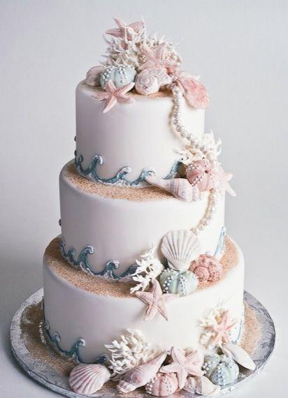 Seashell beach themed cake