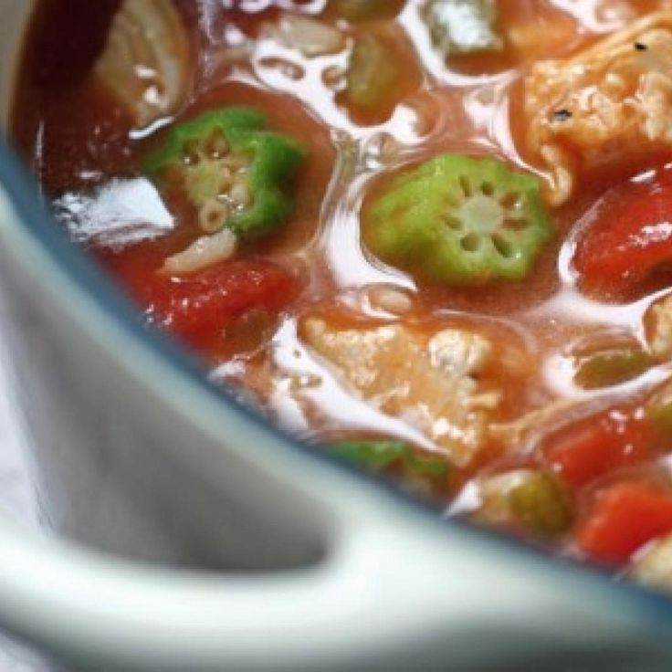 I loved Campbell's Chicken Gumbo soup as a child.  I never new what those round green things with seeds in them were that were floating around in the soup until I was grown and moved to the south.  I discovered okra and decided to duplicate the canned soup.  Outstanding if I do say so myself and a nice change from Homemade Chicken Noodle Soup