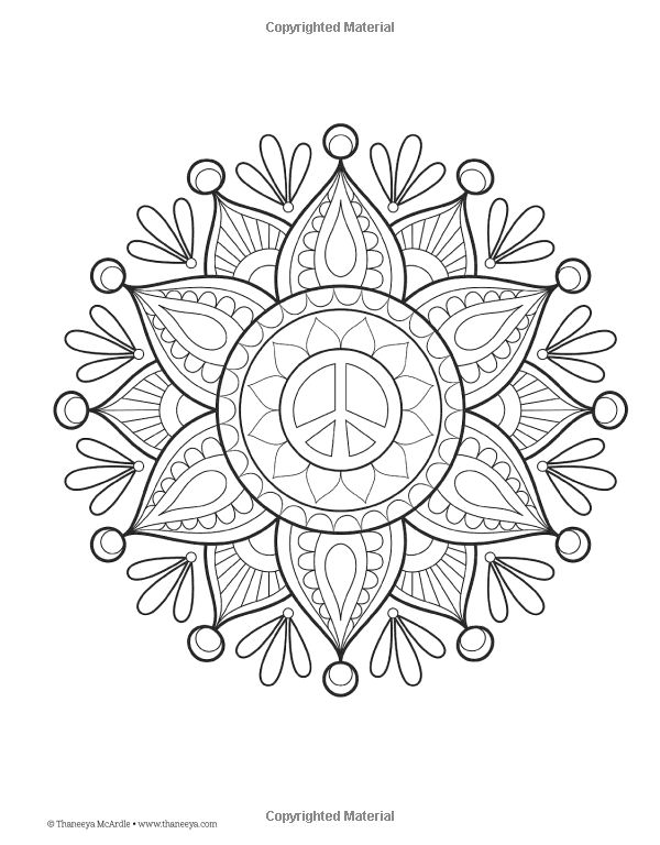 59 best images about hippie art peace signs coloring for Peace sign mandala coloring pages