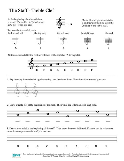 Free Music Theory Worksheet – The Staff/Treble Clef - https://thepianostudent.wordpress.com/2012/07/02/free-music-theory-worksheet-the-stafftreble-clef/