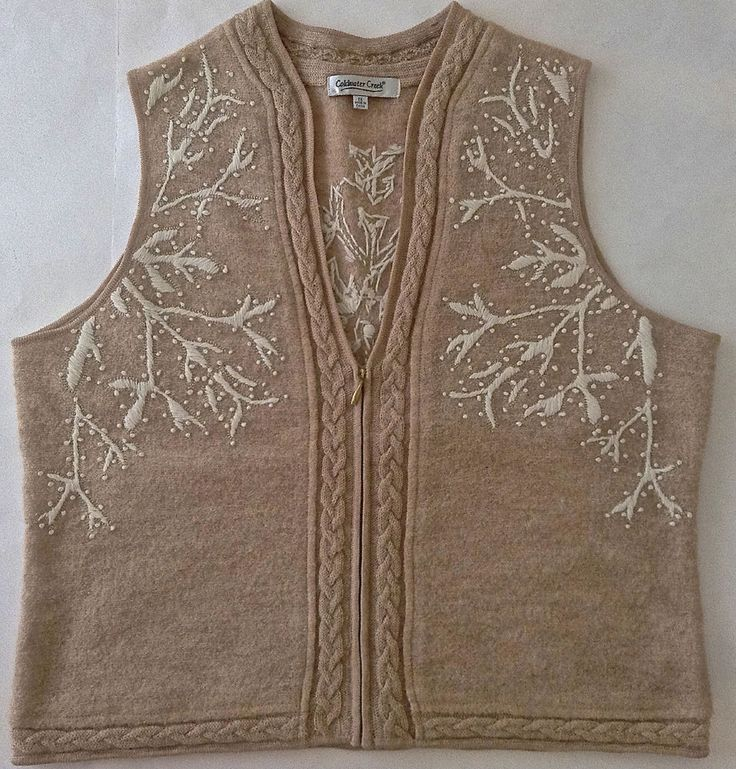 Coldwater Creek Christmas Winter Vest 100% Wool Embroidered Womens Size 1X #ColdwaterCreek