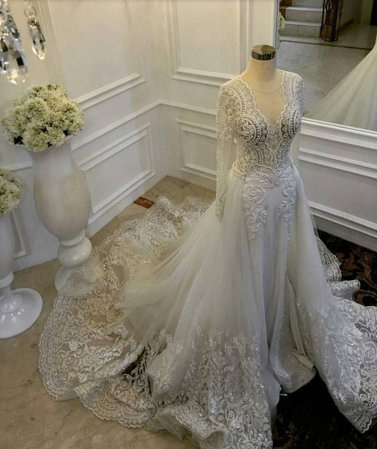 2016 Mermaid Wedding Dresses With Detachable Train Sheer Jewel Neck Lace Appliqued Bridal Gowns With Long Sleeves Beaded Wedding Dress Dresses For Wedding Guests Wedding Dresses Cheap From Dresstop, $216.38| Dhgate.Com