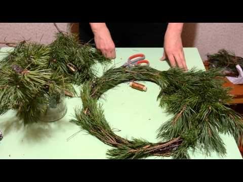 Новогодний венок из сосновых веток. Handmade Christmas Wreath. - YouTube