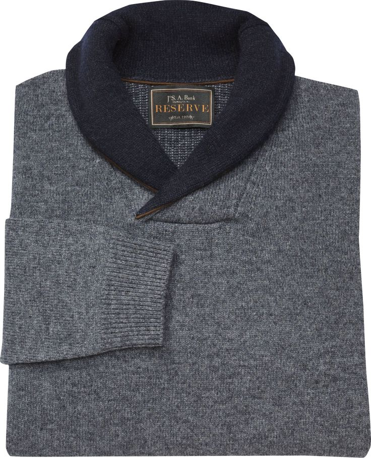 Reserve Collection Lambswool Blend Shawl Collar Sweater - Big & Tall