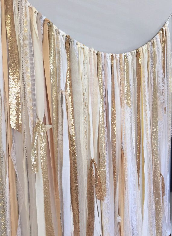 Shades of Gold Sequin & Lace Ribbon Sparkle Wedding by ohMYcharley