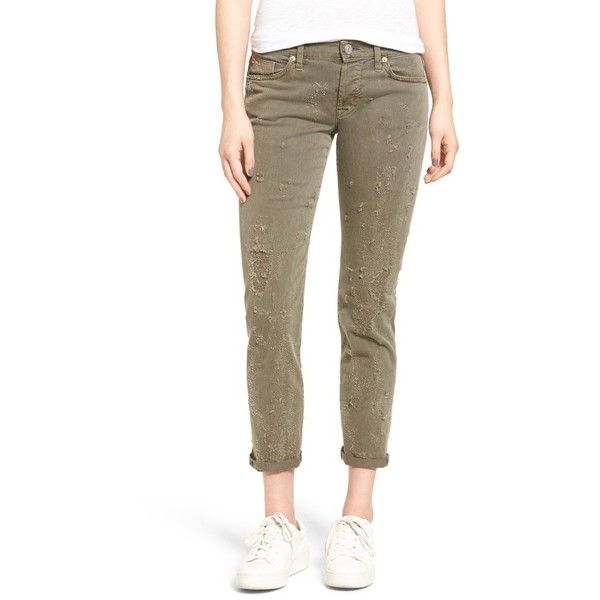 Women's Hudson Jeans Riley Grommet Boyfriend Jeans (€230) ❤ liked on Polyvore featuring jeans, loden gree, brown jeans, boyfriend fit jeans, shiny jeans, boyfriend jeans and hudson jeans