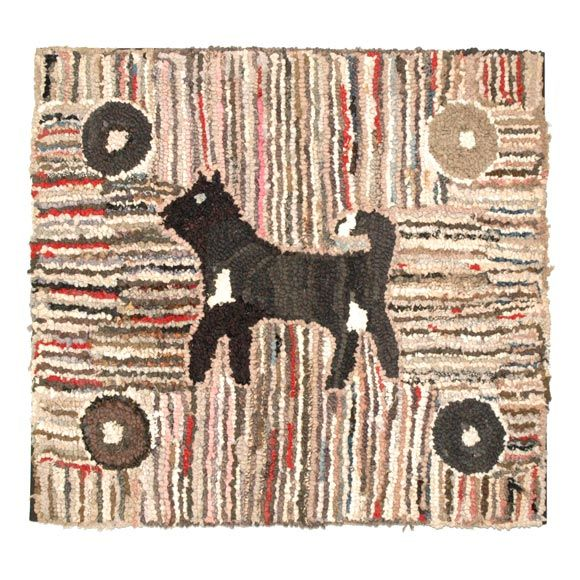 1920 1930 Mounted Pictorial Dog Rug