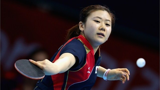 Ai Fukuhara of Japan competes in the Women's Team Table Tennis