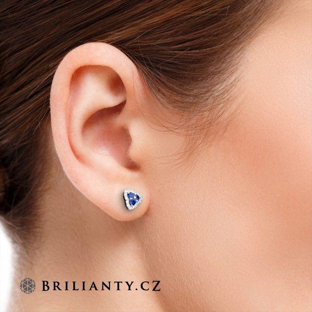 Sapphire Earrings with Diamonds 0.43 ct  www.brilianty.cz