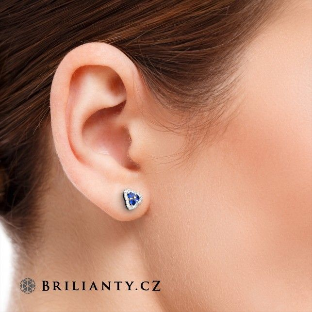 Sapphire Earrings with Diamonds 0.43 ct  www.brilianty.cz