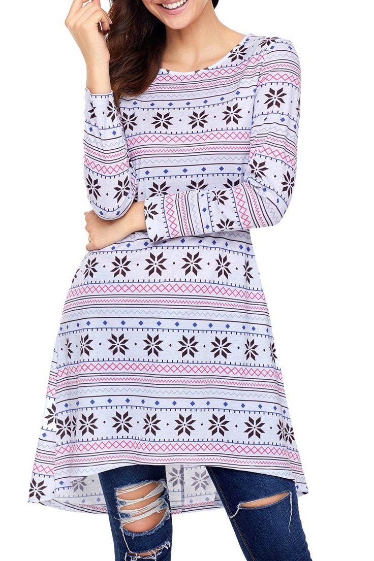 Geometric Snowflake White Long Sleeve Christmas Dress modeshe.com