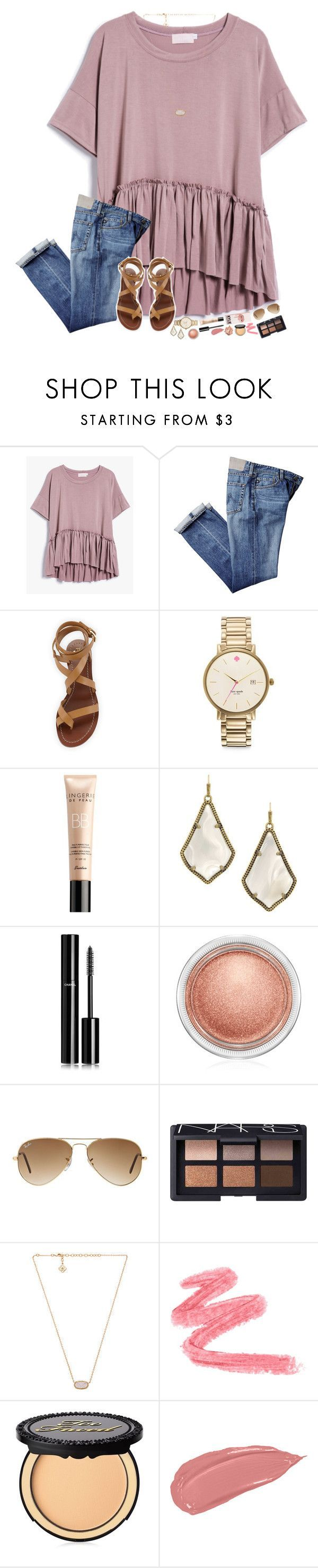 """hey, let's party like we're on vacation!"" by hopemarlee ❤ liked on Polyvore featuring Tory Burch, Kate Spade, Guerlain, Kendra Scott, Chanel, MAC Cosmetics, Ray-Ban, NARS Cosmetics, Too Faced Cosmetics and Stila"