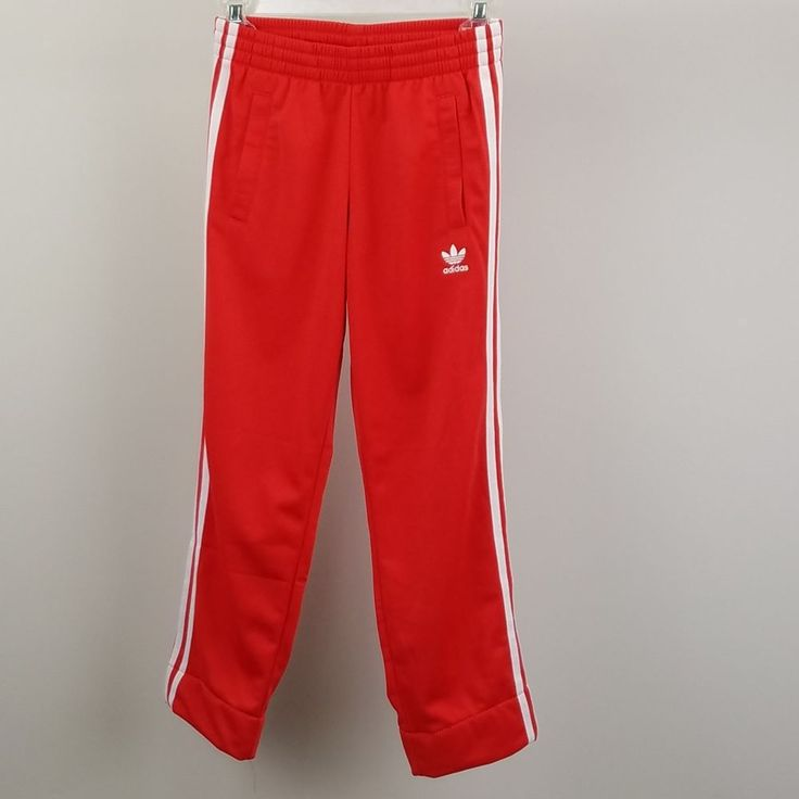 Adidas Youth New Firebird Track Pants Tomato Red 3 White Stripes Youth Size S #adidas #AthleticSweatPants #Everydaysports