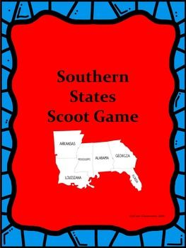 Have fun teaching your students some facts about Mississippi, Alabama, Arkansas, Florida, Louisiana, and Georgia. This scoot…