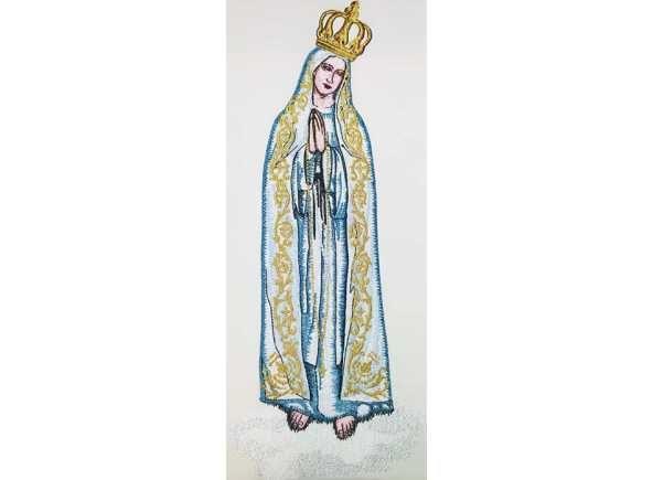 Estola de la Virgen de Fátima. Estola de Fátima - Estola de los Secretos de la Virgen de Fátima, Portugal - Estola para uso litúrgico bordada con elementos marianos relacionados con la aparición de la Virgen María en Fátima, Portugal. Estola de 100% poliéster con 256 cm. x 15 cm (4/5). #Fatima #VirgendeFatima #EstolaMariana #EstolaFatima #VirgendeFatimaenBrabander #OurLadyOfFatima #FatimaStole #FatimaVestments