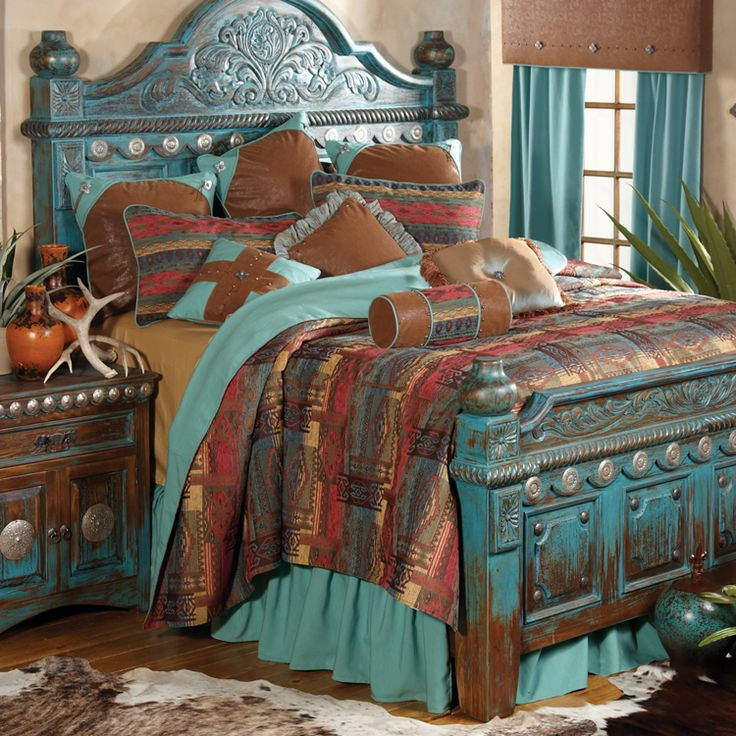 Southwestern distressed bed and southwestern bedroom decor.  Wonderful website full of handmade furniture that's sure to please.