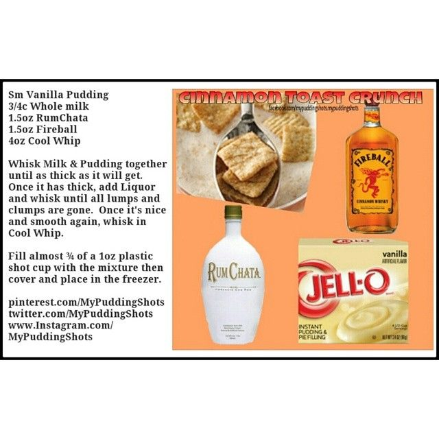 Cinnamon Toast Crunch recipe card so you can easily save to your phone.  See all recipes on facebook.com/mypuddingshots.mypuddingshots. #puddingcup #alcohol #fun #pudding #drinkporn #puddingshots #jelloshots #liquor #pudding #puddingcups #puddingshot #mypuddingshots #booze #shots #puddingshotz #cocktail #cocktails #dessert #bar #fireball  #rumchata #cinnamontoastcrunch