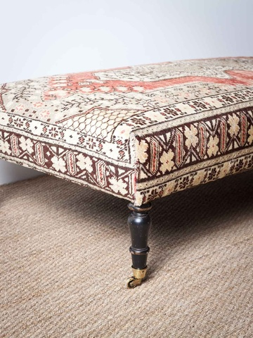 A Newly Crafted Ottoman Bench With Turned, Darkly Stained Baluster