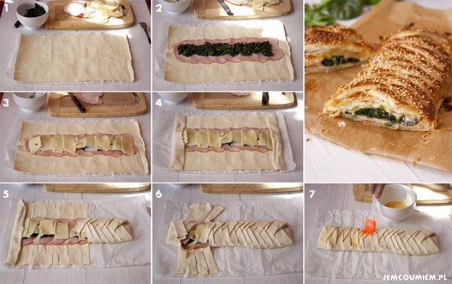 Ciasto francuskie prosto i efektownie – z szynką, serem i szpinakiem [by jemcoumiem.pl]