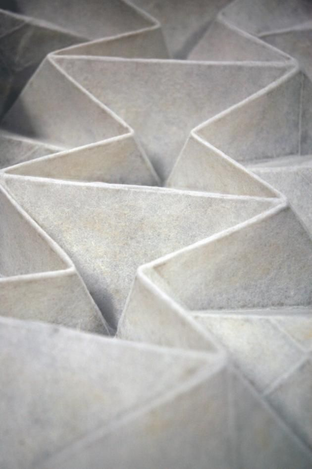 Origami Textiles with structural 3D folds; fabric manipulation; constructed textile design // Rachel Philpott