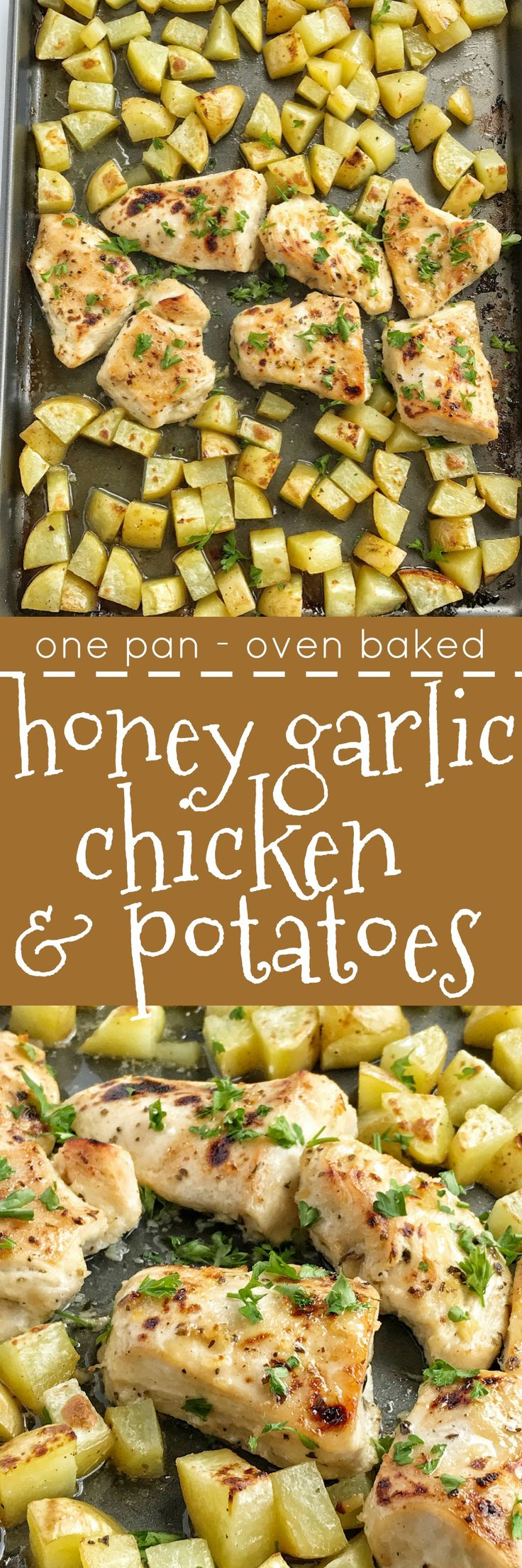 One pan and the oven is all you need for a delicious and hearty marinated honey garlic chicken dinner. Moist, tender chicken glazed with a honey garlic sauce and chunked potatoes covered in a simple seasoning of olive oil, salt, and pepper. This is a must try for dinner!