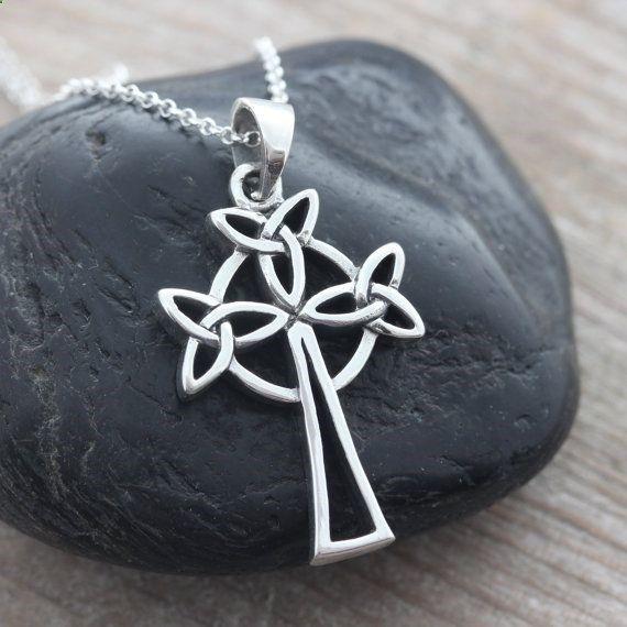 Celtic Cross, Irish Celtic knot, Sterling Silver Cross Necklace, Men Necklace, Leather Necklace  sterling chain, Sterling Celtic Jewelry on Etsy, $39.80