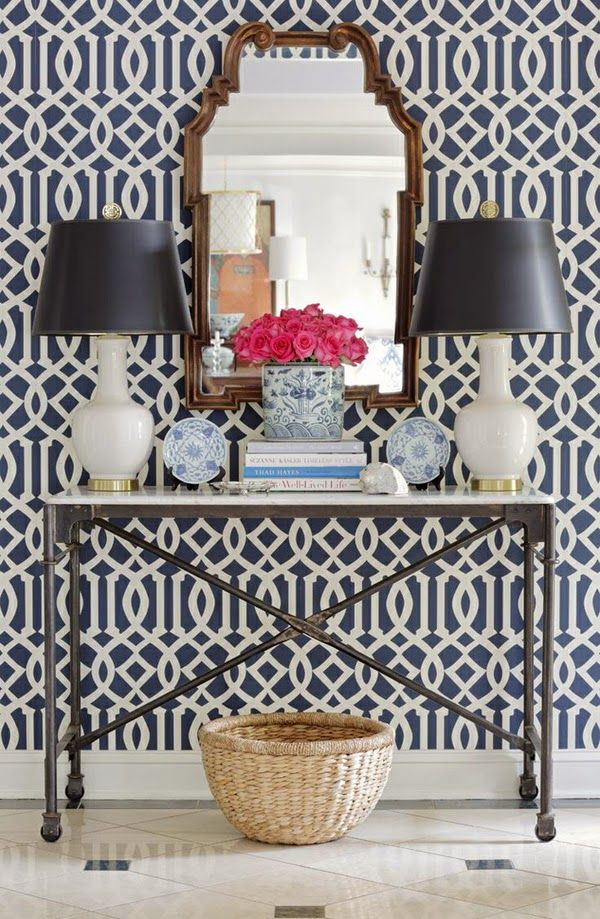 Hall console with wonderful trellis wallpaper in navy and white