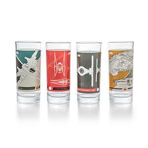 Star Wars Ep VIII Fighter Ships 4 pc. 10 oz. Glass Set   ThinkGeek