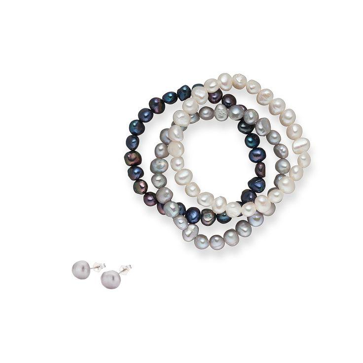 Set Valero Pearls și Sakura Pearl Office Day Argintiu (cercei, brățară trio)