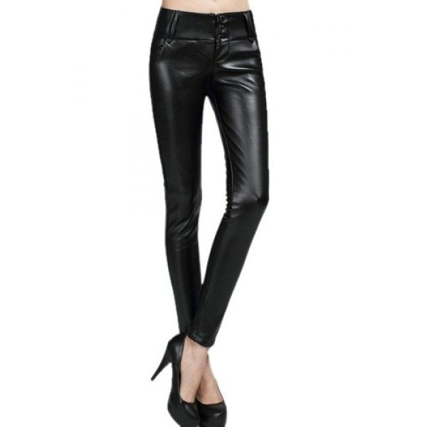 Chic Mid-Waisted PU Leather Solid Color Women's Skinny Pants ($22) ❤ liked on Polyvore featuring pants, skinny pants, leatherette pants, pleather skinny pants, white pleather pants and pleather pants