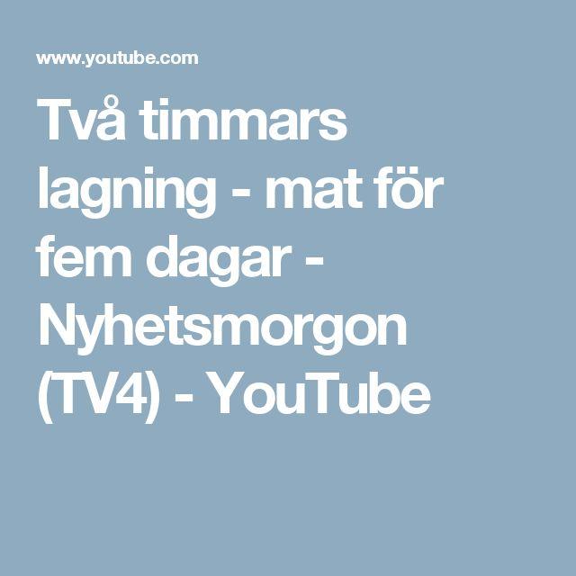 Två timmars lagning - mat för fem dagar - Nyhetsmorgon (TV4) - YouTube
