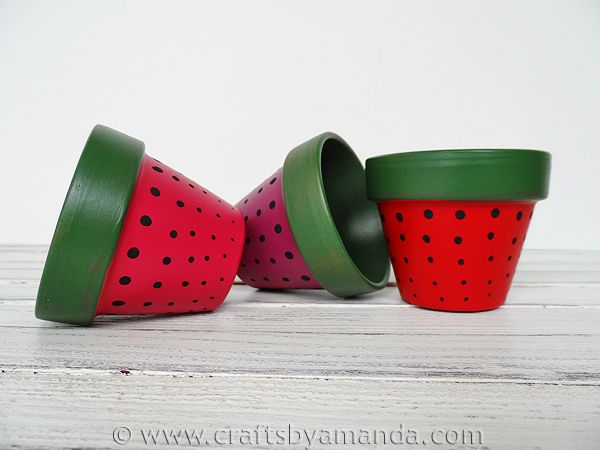 These Strawberry Terra Cotta Pots will help you capture the freshness of summer as fall approaches. Learn how at Crafts by Amanda