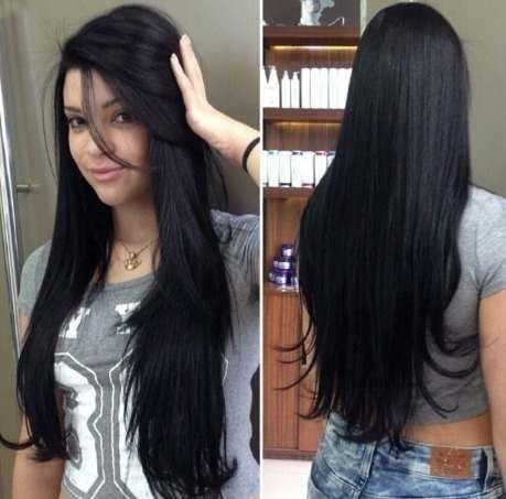 Cabelos pretos longos - Como fazer Banho de brilho nos cabelos em casa