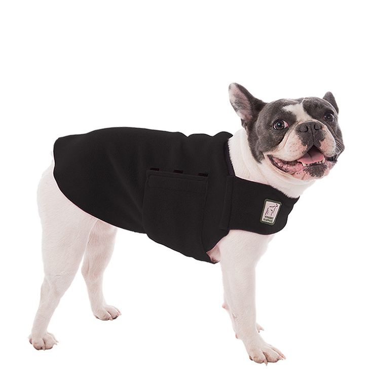 Black French Bulldog Dog Tummy Warmer, great for warmth, anxiety and laying with our dog rain coat. High performance material. Made in the USA.