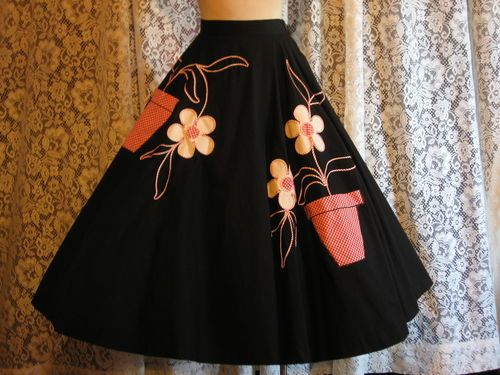 A delightfully cute 1950s Black Cotton Novelty Gingham Appliqued Full Circle Skirt. #skirts #fashion #vintage