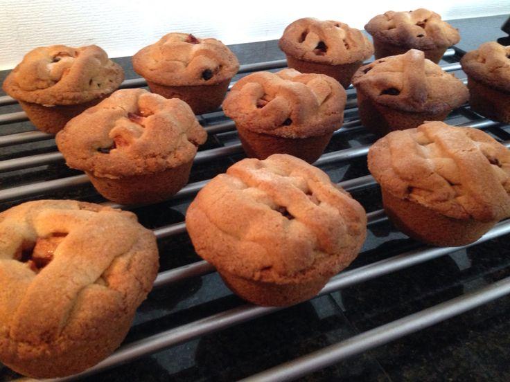 Best goed gelukt, mini appeltaartjes uit een muffin blik, nu eerst afkoelen en dan pas proeven!