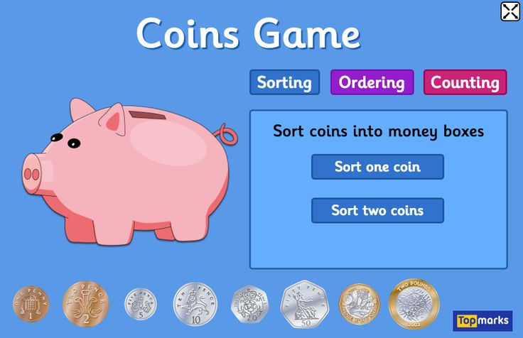 UK Coins Game for 4-10 year olds with sorting, ordering and counting coins activities.
