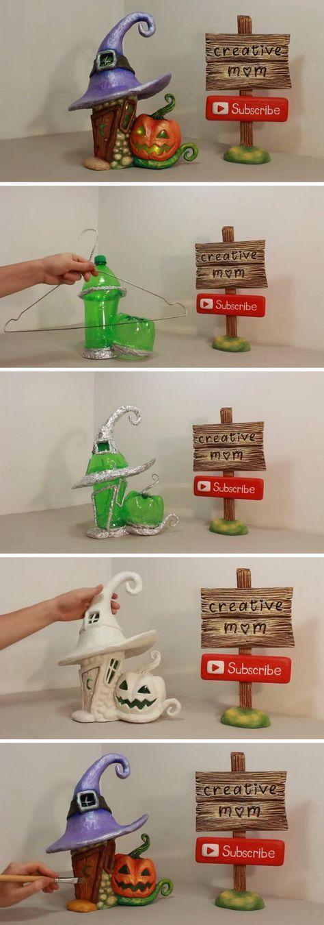 DIY Halloween Fee Haus Lampe mit einer Plastikflasche.